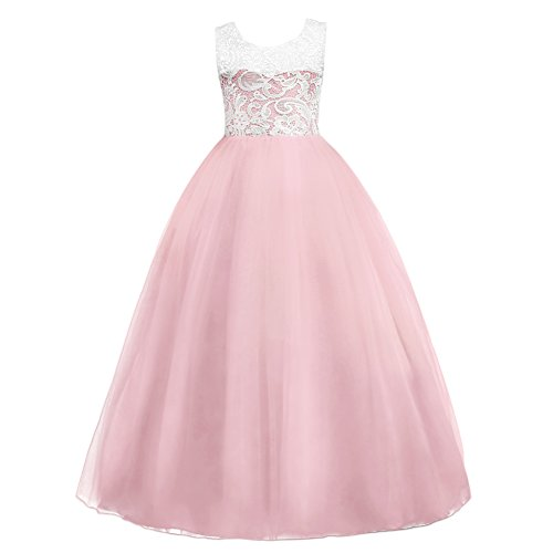 Baby Girls' Tulle Back to School Dresses 7-16T Ruched Lace Pageant Party Fall Wedding Bridesmaid Floor Length Evening Dance Gowns Clothes Light Pink 15-16 Year
