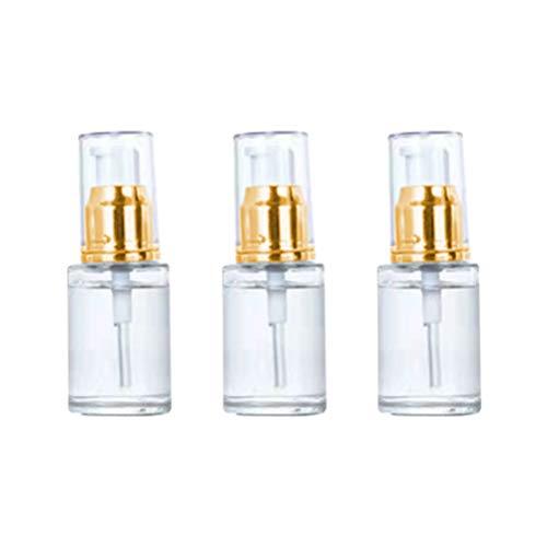 TOPBATHY 3 Stück Leere Pumpflaschen Make-Up Lotion Flüssigkeit Sprühflaschen Parfüm Ätherisches Öl Cremespender Probe Wassernebel Fläschchen (Golden Und Weiß 30Ml)
