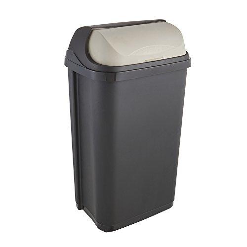keeeper Cubo de Basura con Tapa Deslizante, 50 l, Rasmus, Gris grafito, PP, 50 litros (para bolsas de 60 l)