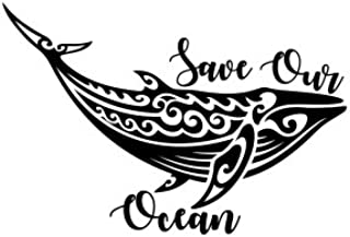 Save Our Ocean Whale Vinyl Decal Sticker (Black)