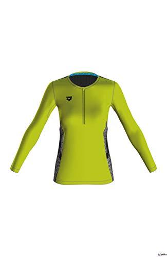 ARENA W Run H/Z Long Sleeve - Camiseta de Manga Larga para Mujer, Verde (Soft Green/Negro), M