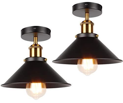 ASCELINA Luces de techo retro vintage para sala de estar, loft, decoración industrial, lámpara de techo LED, accesorios de cocina de metal (negro, 2 unidades)