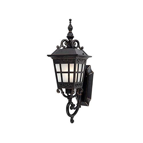 Mijogo Buitenwandlamp, wandlantaarn, bevestiging, waterdichte aluminium wandlamp, decoratie voor buitenhuis, plafond veranda, verlichting, zwart met strepen en glasvorm