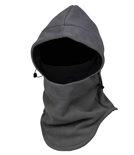 Purjoy Multipurpose Use 6 in 1 Thermal Warm Fleece Balaclava Hood Police Swat Ski Bike Wind Stopper Full Face Mask Hats Neck Warmer Outdoor Winter Sports Snowboarding Cap(Grey+Black)