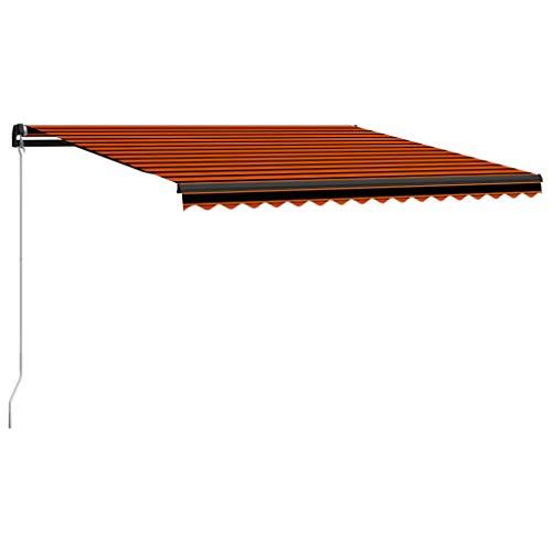 vidaXL Toldo Manual Retráctil con LED Parasol Plegable Patio Protector del Sol Carpa Sombra Paraguas Ventanas Balcón Exterior Naranja y Marrón 450x300 cm