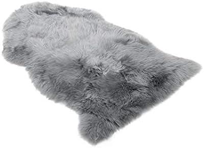 Starose New Zealand Genuine New Zealand Single Pelt Sheepskin Rug Light Gray Long Hair Lambskin