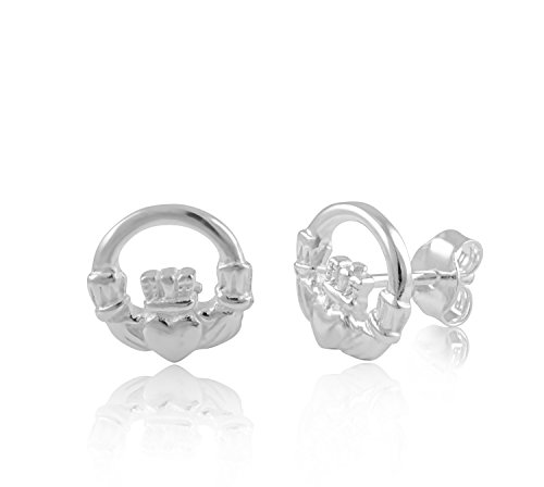 Sterling Silver Celtic Heart Claddagh Stud Earrings 0.39in