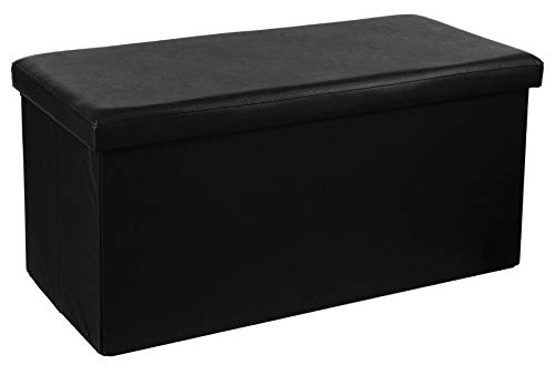 PEGANE Pouf Pliant Double en PVC, Coloris Noir - Dim : L.76,6 x l.38 x H.37,5 cm