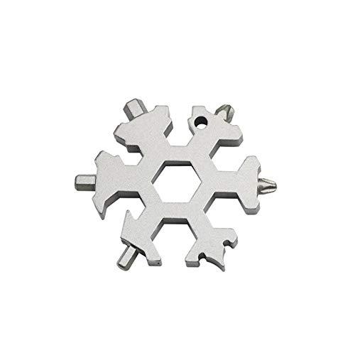 feiledi Trade Edelstahl Multi-Tool, 19 in 1 Schneeflocke-Schraubenschlüssel Innovative Outdoor Multifunktions-Gadget-Schlüsselanhänger Professionelle Camping Wandern Reisewerkzeug