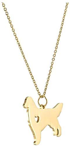 ZGYFJCH Co.,ltd Collar Lovely Golden Retriever Collar Colgante Collar Oro Plata Color Acero Inoxidable Nombre Personalizado Lovely Pet Dog Raza Gargantilla Amante de los Perros