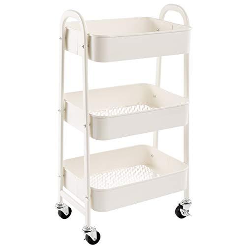 AGTEK Makeup Cart, Movable Rolling Organizer Cart, White 3 Tier Metal Utility Cart