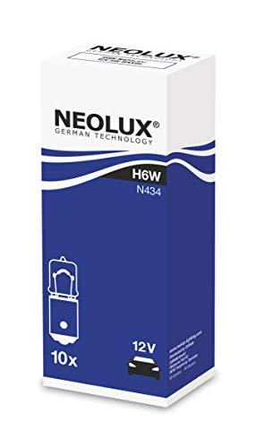 NEOLUX Lot de 10 ampoules standard H6W pour voiture et moto N434 12 V 6 W BAX9S - Boîte pliante