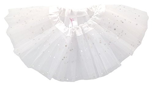 Dancina Baby Girls' Toddlers Tutu Glitter Triple Layer Tulle 6 Months to 2 Years,White,One Size/XS