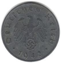 1942-A German Third Reich 10 Reichspfennig -- Swaztika Coin -- WWII Vintage
