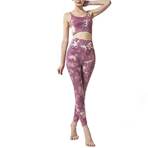 ZHZHUANG Trajes sin Fisuras de 2 Piezas Entrenamiento de Yoga Manga de Gimnasio Tops Y Pantalones Conjunto de Mono,Púrpura,Xl
