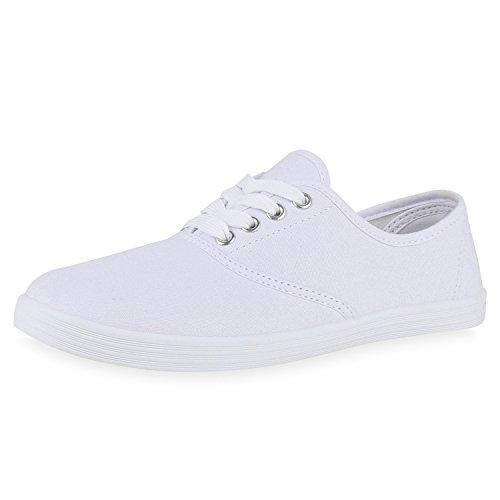 SCARPE VITA Trendy Damen Sneakers Trendfarben Stoffschuhe Sportschuhe 165261 White Weiss Total 40