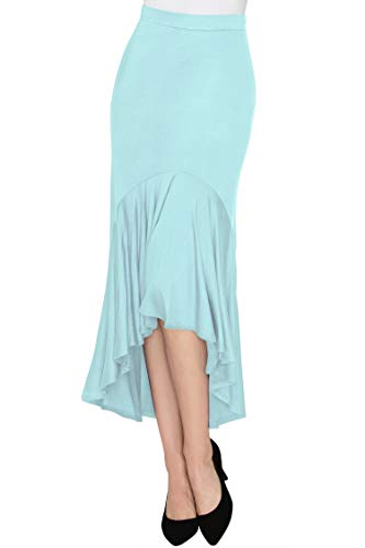 Made By Johnny WB1132 Womens Asymmetrical High Low Ruffle Hem Skirt S Aqua