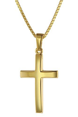 trendor Kreuz 21 mm Gold 585 mit goldplattierter Silberkette für Frauen Damen Halskette, Gold Anhänger, Kreuz Anhänger aus Echtgold, elegantes Geschenk 75544