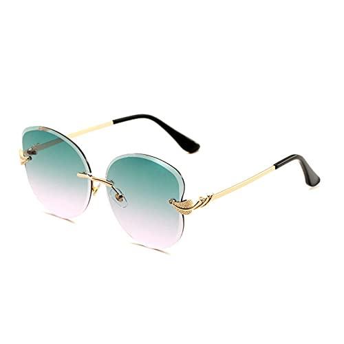 JINZUN Gafas de Sol sin Montura Gafas de Sol de Moda Gafas de Sol con Forma de Hoja de Personalidad Gafas de protección UV de Tendencia Marco Dorado Superior Verde Polvo Inferior