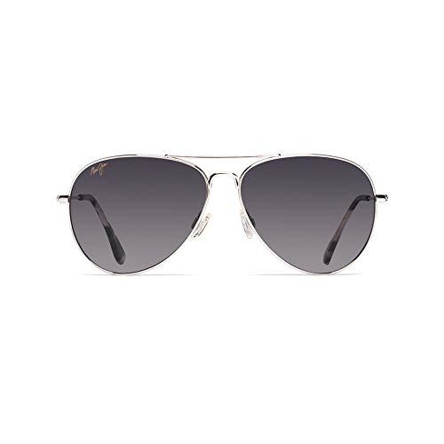 Maui Jim Mavericks w/ Patented PolarizedPlus2 Lenses Polarized Lifestyle Sunglasses, Silver/Neutral Grey Polarized, Medium