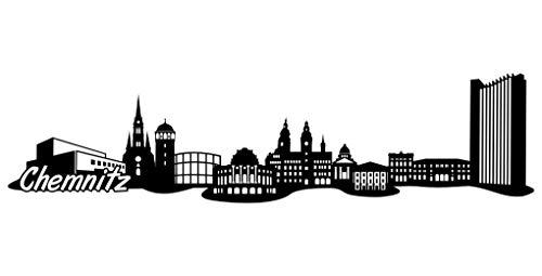 Samunshi® Chemnitz Skyline Aufkleber Sticker Autoaufkleber City Gedruckt in 7 Größen (15x3,7cm schwarz)