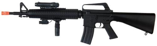 Well m16-a3 RIS Spring Airsoft Gun Assault Rifle fps-340 w/Aiming Sight, Flashlight, high Capacity Magazine(Airsoft Gun)