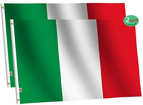 rungift 2 Stück italienische Flagge,150X90cm, Leinenvorrichtung und doppelt genäht - Messingösen für einfaches Display, lebendige Farben und UV-beständiges Licht, Italien Flagge