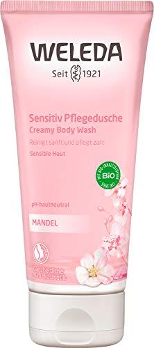 WELEDA Mandel Sensitiv Pflegedusche, beruhigendes Naturkosmetik Duschgel für sensible und zarte Haut, sanfte Pflege und Reinigung für ein weiches Hautgefühl (1 x 200 ml)