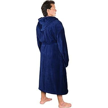NY Threads Luxurious Men's Shawl Collar Fleece Bathrobe with Hood (Navy, L/XL)