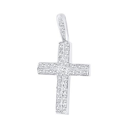 Ciondolo Croce in Oro Bianco 18ct 750/000 con Diamanti 0,20ct G VVS 1,80 Gr