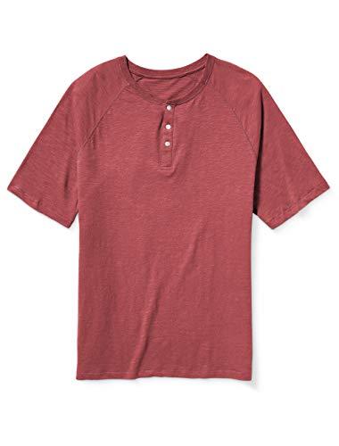 Amazon Essentials Men's Big-Tall Big & Tall Short-Sleeve Slub Henley T-Shirt Shirt, -Washed Red, 3XL