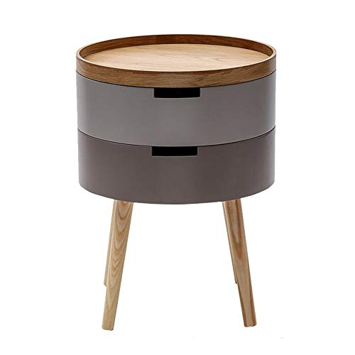 Jcnfa-Tables Round Coffee Side Table 2 Layer Storage Box Tray Lid Sofa End Table Wood Legs Living Room Bedroom Home Furniture (Color : Brown, Size : 14.9614.9620.07in)