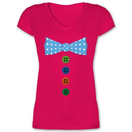 Karneval & Fasching - Clown Kostüm Blaue Fliege - 3XL - Fuchsia - Damen t Shirt Clown - XO1525 - Damen T-Shirt mit V-Ausschnitt