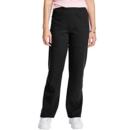 Hanes Women's Petite EcoSmart Open Bottom Leg Sweatpants, Ebony, X-Large