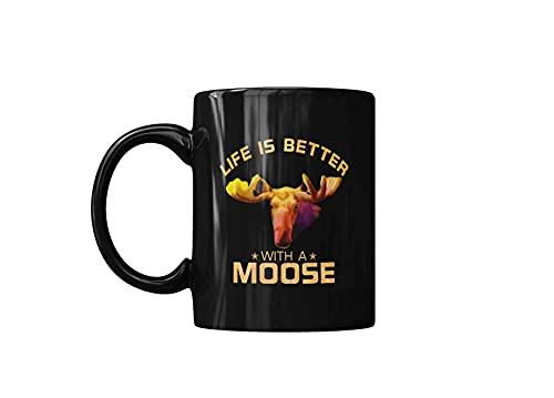 La vida colorida es mejor con una linda taza de café para amantes de los animales salvajes de alce, tazas de cerámica para regalo de un amigo, negro, impreso en ambos lados, 11 oz, divertidas tazas de