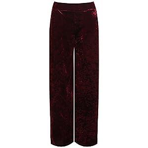 New Ladies Plus Size Velour Velvet Wide Flared Leg Pocket Pants Palazzo Trousers
