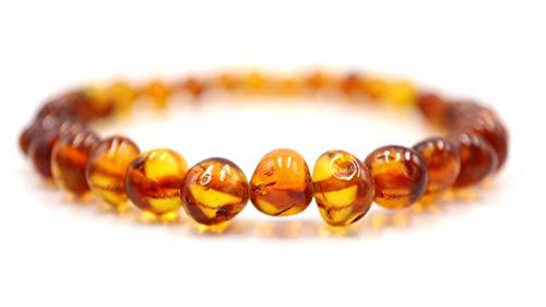 Amber-us Bracciale in ambra baltica su nastro elastico, in tutte le misure, diversi colori, realizzato con perle di ambra naturale e autentiche pietre di ambra tonde, bracciale in ambra (Light cognac)