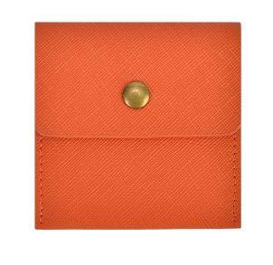 LIly 携帯灰皿 ポータブル レザー 革 ポケット サイズ カラー 6色 (オレンジ)