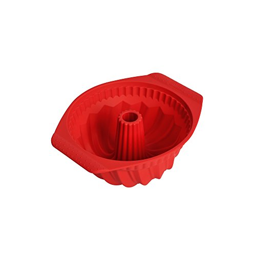 Kaiser Flexo Bund-/ Gugelhup-/ Silikonbackform, 100% Silikon, antihaftbeschichtet, hohe Formstabilität, flexibel, spülmaschinengeeignet, Ø 22 cm, rot