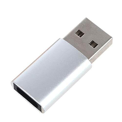 PHILSP Adaptador convertidor USB Macho a Tipo C Hembra Adaptador OTG Convertidor Cable Tipo C Adaptador de Ventilador de Disco U Plata