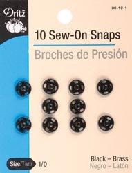 Dritz - Broches para coser en color negro, tamaño 1/0 10/paquete 80 10 1 (3 unidades)
