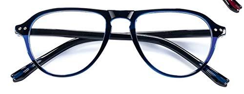 LINDAUER Ausgefallene Lesebrille +3,0 blau/schw. Flexbügel für SIE & IHN 70er-Jahre-Stil