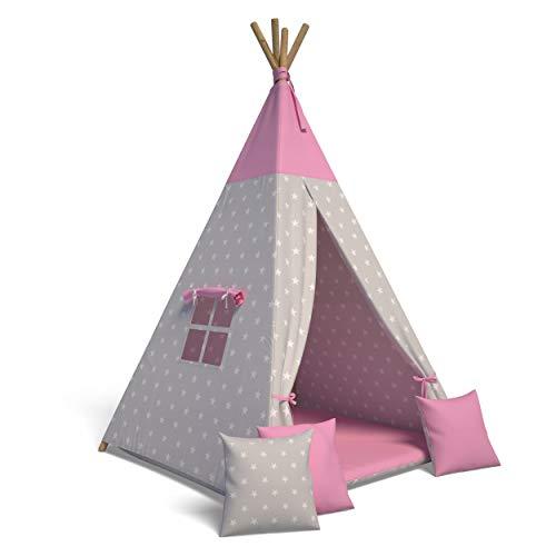 Best For Kids Spielzelt Tipi Zelt Indianer Wigwam für Kinder mit Zubehör (Sterne rosa)