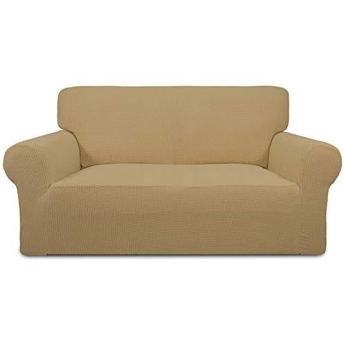 Funda para sofá de dos plazas, elástica, fácil de llevar, suave, con parte inferior elástica para niños, poliéster, licra, jacquard, diseño de cuadros pequeños, color dorado