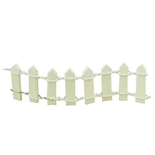 Gespout Clôture de jardin miniature pour maison de poupée - Décoration de jardin (Blanc)
