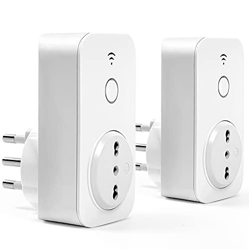 Presa Wifi Italiana 16A 3680W Smart Plug Intelligente Spina Energy Monitor, Funzione Timer, APP Controllo Remoto, Compatibile con SmartThings, Amazon Alexa, Google Assistant e IFTTT, 2 Pezzi meross