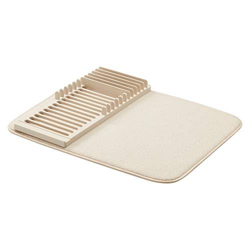 Amazon Basics - Supporto scolapiatti in plastica con tappetino, 41x46cm / 16x18