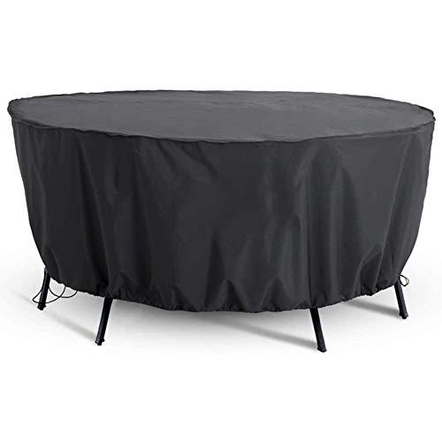 Muebles de jardín Patio Covers Protectores Circular jardín Cubierta de mesa for trabajo pesado 420 Oxford tela impermeable a prueba de polvo Protección UV Muebles de terraza cubierta redonda, Negro, 2