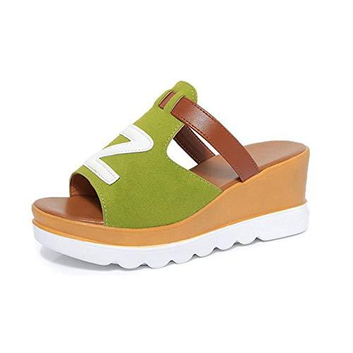 Kuaijie Sandalias de mujer con plataforma para verano, con correa para la playa, cuñas, sandalias de verano para mujer, sandalias de verano con plataforma, sandalias de playa para mujer