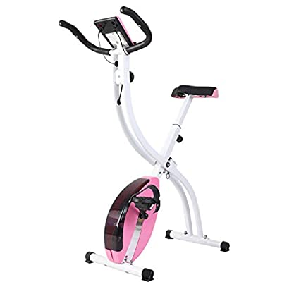 Exercise Bikes Stationary Foldable for Home Use,with Pulse Sensor & LCD Monitor, Comfortable Seat Cushion,Adjustable Magnetic Resistance Stationary Exercise Bike for Home Workout Gym Cardio Training